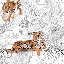 Tropical Tiger Animal, Palm Leaves, White Background. Seamless Pattern. Graphic Illustration. Exotic Jungle Plants. Summer Beach Line Black White Floral Design.