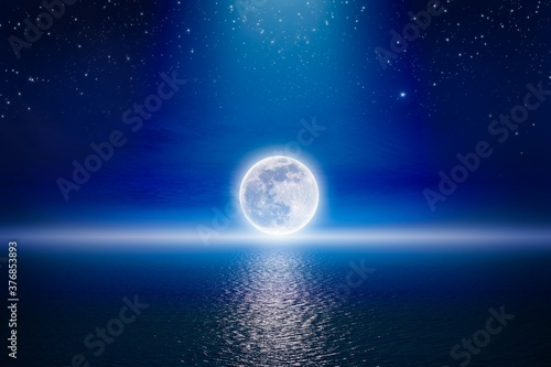 Fotografiet Starry night sky with full moon rising above serene sea