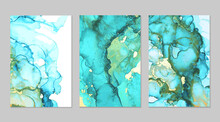 Luxury Teal, Blue And Gold Marble Abstract Background Set. Alcohol Ink Technique Vector Stone Textures. Creative Paint In Natural Colors With Glitter. Template For Banner, Poster Design. Fluid Art