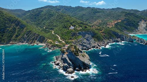Fototapeta Aerial drone photo of picturesque chapel of Saint John built in famous cliff whe