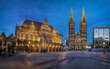 Bremen, Germany. Panorama of Market square at dusk with historic building of Town Hall and St Peter's Cathedral