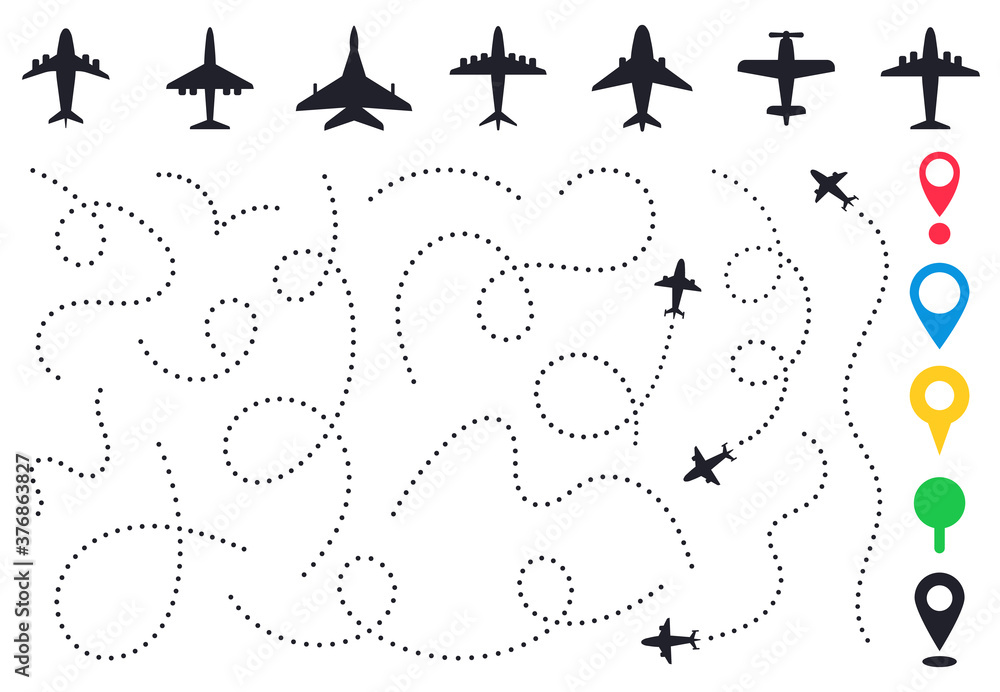 Fototapeta Plane route line. Planes dotted flight pathway, travel destination airplane track, planes and traveling routes vector illustration icons set. Dashed trace or line trail, map pins for location