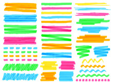 Highlight Marker Lines. Colorful Doodle Highlight Marker Lines, Yellow Markers Stripes, Pink Line Highlight Marker Sketch Vector Illustration Set. Wavy, Curly Or Dotted Green And Blue Stripes