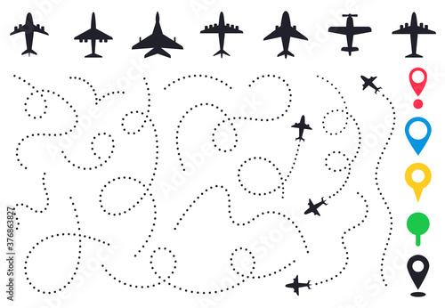 Plane route line Canvas Print
