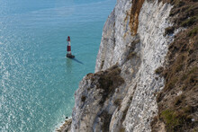 Beachy Head Lighthouse, View From A Cliff Near Eastbourne. Seven Sisters. White Cliffs Of England, UK