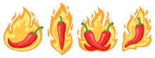 Hot Chilli Peppers. Cartoon Spicy Red Chilli Pepper In Fire Flames, Red Hot Burning Mexican Peppers Isolated Vector Illustration Icons Set. Organic Vegetable For Food Sauces, Cooking