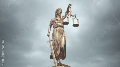 Cuadros en Lienzo Lady Justice Statue Bronze the Personification of the Judicial System 3d illustr