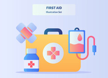 First Aid Illustration Set Red...