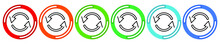 Arrows Cyclic Rotation Icons, Two Arrows Recycling Recurrence, Renewal Line Symbols On White Background. Vector 6 Colors Option Icon. Vector Illustration Flat Design UI And UX