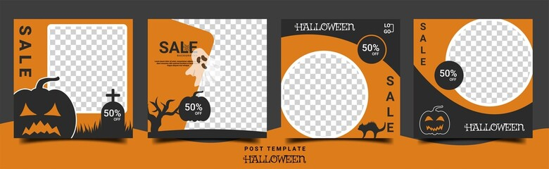 Set of Editable square halloween banners. Post template halloween theme, with photo collage. Perfect for social media post and web internet ads.
