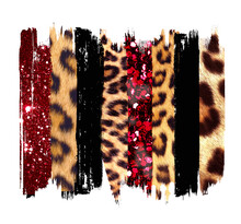 Black, Red And Gold Brush, Strokes, Jpg, Sublimation, Shirt, Clip Art, Leopard Texture
