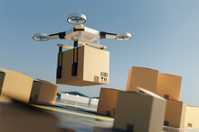 A Drone Quadcopter Lifting Off The Ground Carrying A Large Parcel. Drone Delivery Service. 3D Illustration.