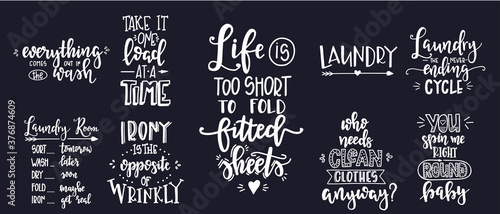 Laundry Hand drawn typography poster Fotobehang