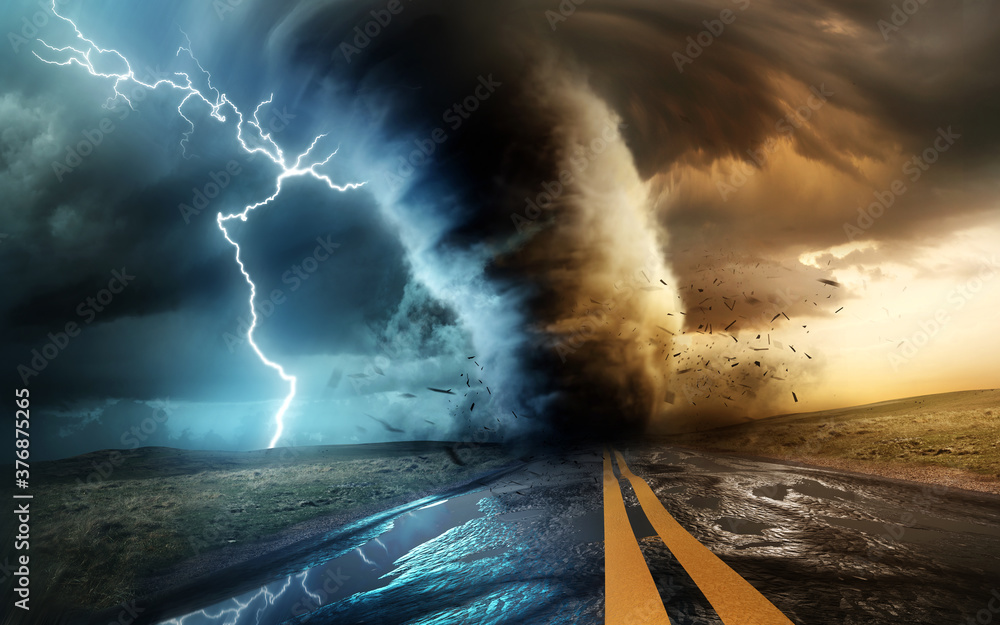 Fototapeta A dramatic and powerful tornado and supercell thunder storm passing through some isolated countryside at sunset. Mixed media landscape weather 3d illustration.