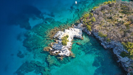 Aerial drone photo of tropical exotic bay with turquoise rocky seascape in Caribbean destination island