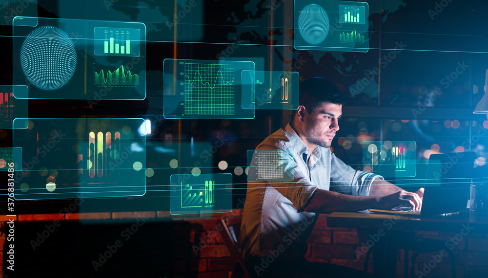 Fototapeta Collage With Businessman Working In Office And Digital Interface With Business Graphs