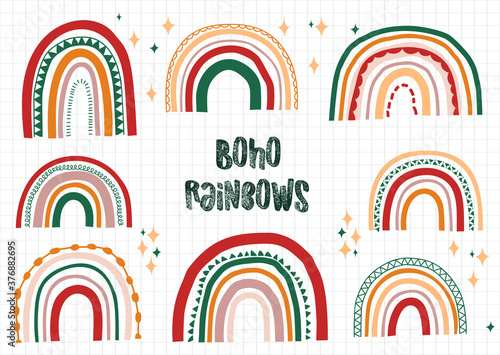 Obraz Boho rainbows hand drawn vector set. Modern hippie style rainbows vector. - fototapety do salonu