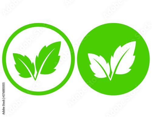 natural eco green leaves and branch icon Billede på lærred