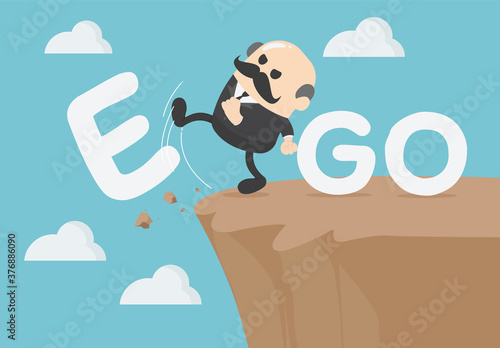 Fotografie, Obraz Business concept cartoon Senior Elderly businessmen  is an egoist with word ego