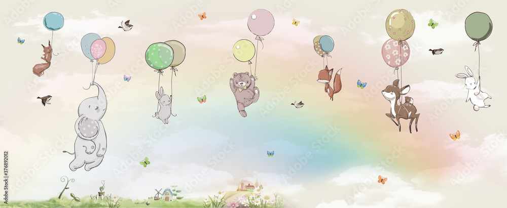 Fototapeta animals in the sky on balloons