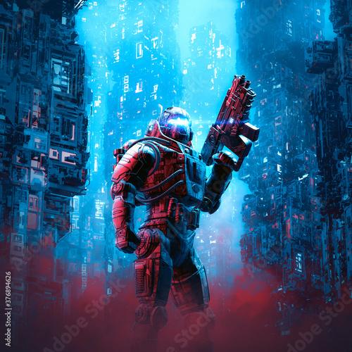 Cuadros en Lienzo Cyberpunk soldier city patrol / 3D illustration of science fiction military robo