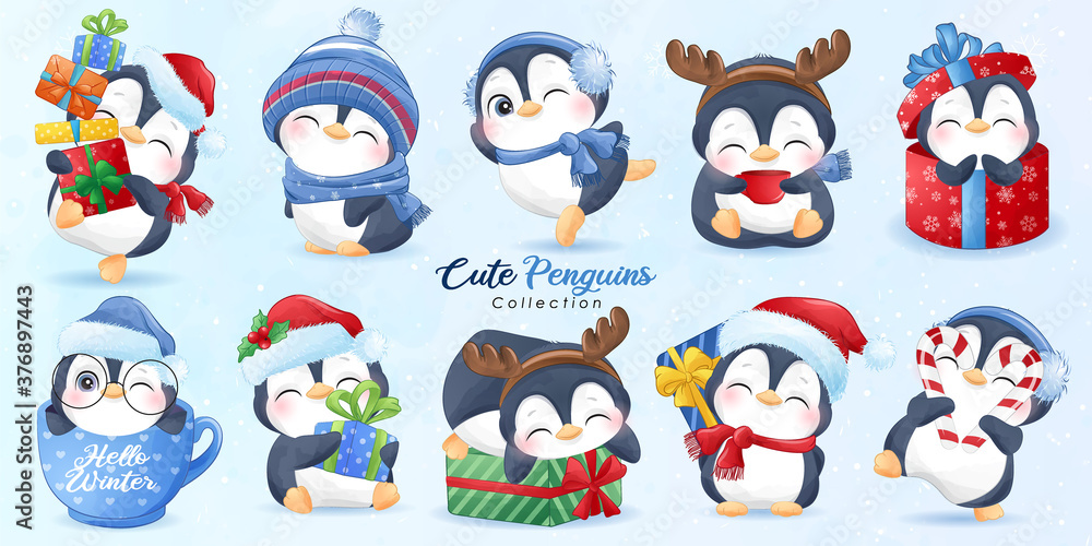 Fototapeta Cute doodle penguins set for christmas day with watercolor illustration