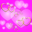 canvas print picture - Valentine's day festive background. Golden hearts with highlights on a pink background.