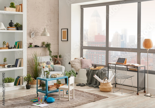 Modern decorative living room corner and city view, child object interior style Canvas Print