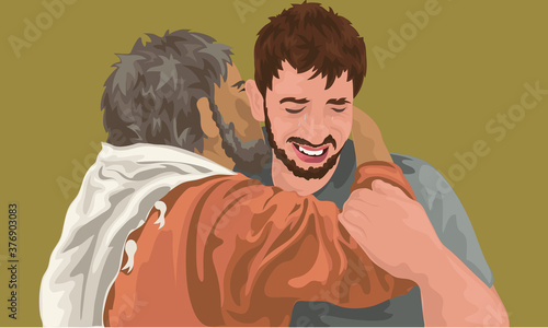 Canvas-taulu Prodigal Son Greeting His Father Full Of Remorse (Luke 15)