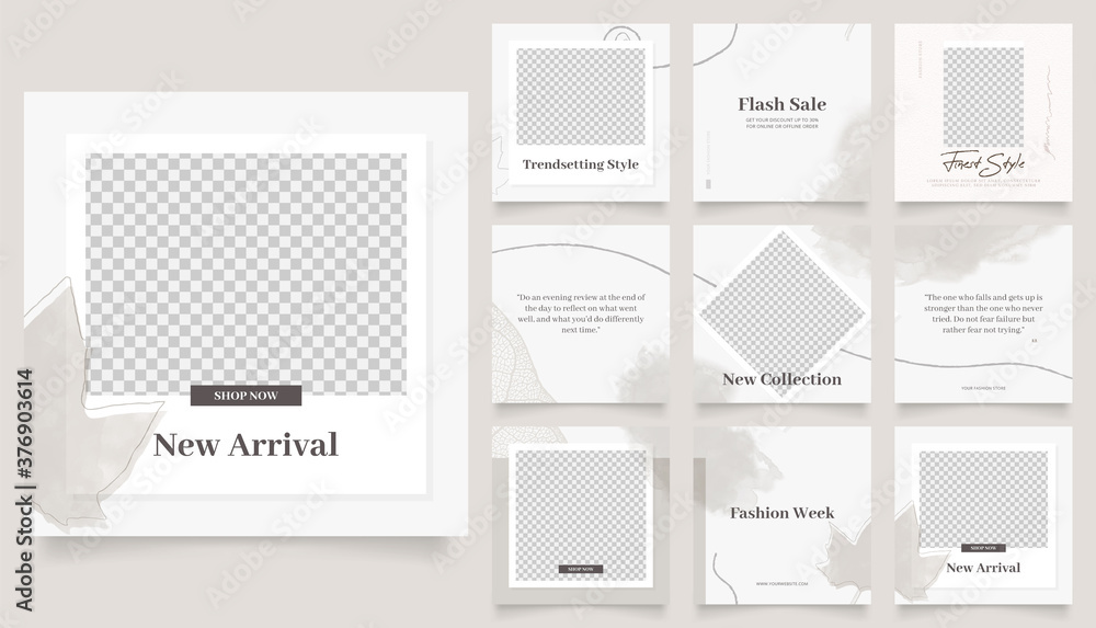 Fototapeta social media template banner fashion sale promotion. fully editable instagram and facebook square post frame puzzle organic sale poster. brown watercolor vector background.