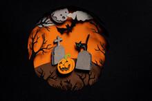Happy Halloween Hand Cut Illustration. Spooky Forest With Graveyard Tombstones, Smiling Orange Pumpkin, Black Bat And Rat In Dark Night On Full Moon Background