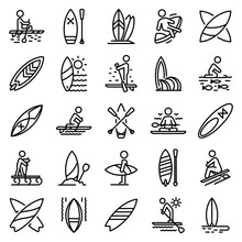 Sup Surfing Icons Set. Outline Set Of Sup Surfing Vector Icons For Web Design Isolated On White Background