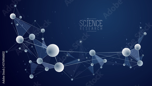 Fotografia Molecules vector abstract background, 3D dimensional science chemistry and physics theme design element, atoms and particles micro nano scientific illustration