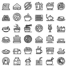 Lunch Icons Set. Outline Set O...