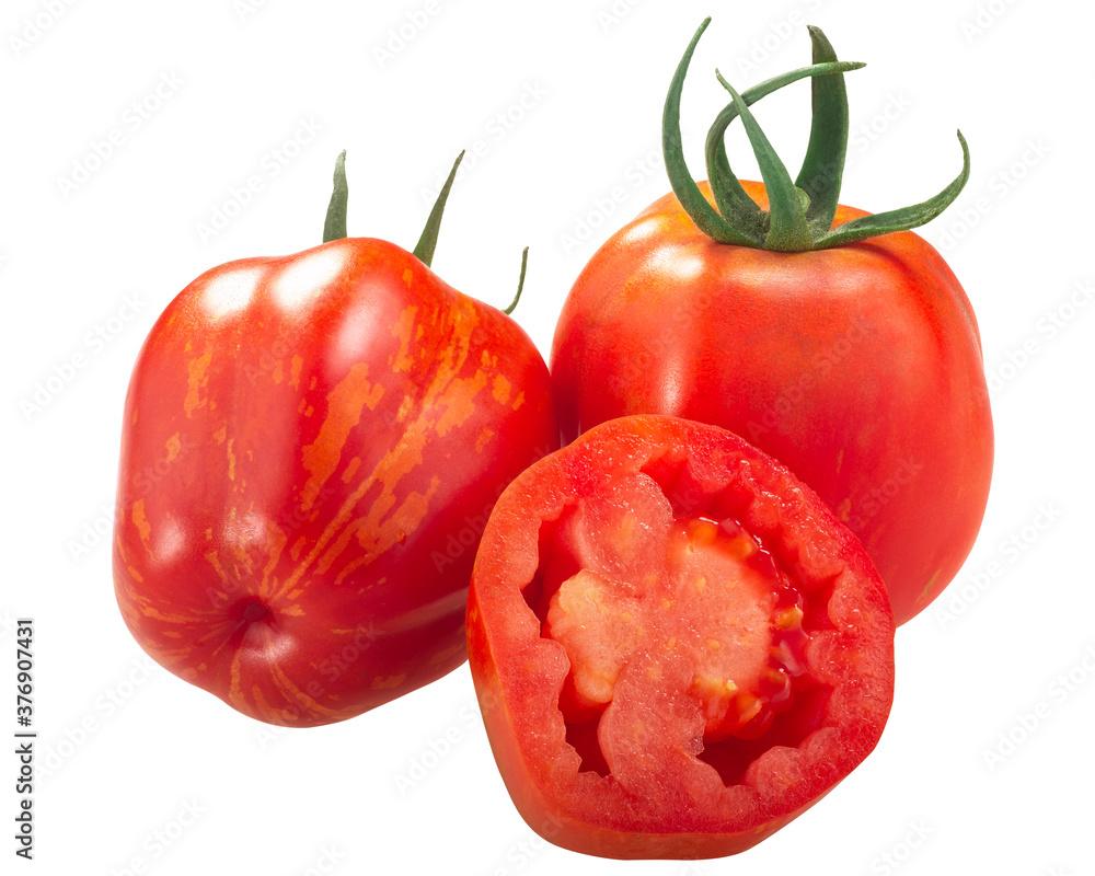 Fototapeta Striped Stuffer heirloom tomatoes, whole and a half  isolated
