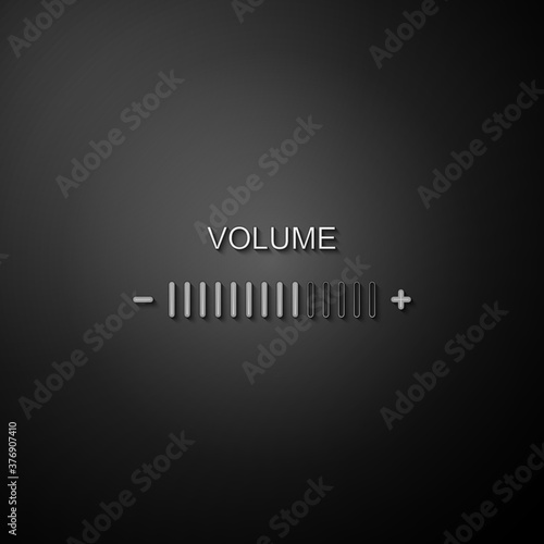 Fotomural Silver Volume adjustment icon isolated on black background