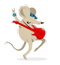 Funny Cartoon Mouse Plays Elec...