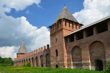 Wall And Towers (Zimbulka And Dolgotchevskaya) Of The Kremlin (fortress). Smolensk City, Smolensk Oblast, Russia.