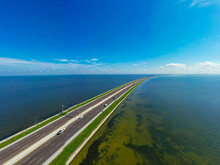 Aerial Photo Of Highway 275 Howard Frankland Bridge Over Tampa Bay Florida USA