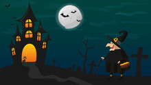 Halloween Night. Witch In A Bl...