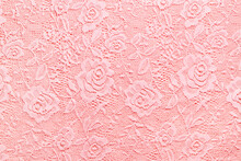 Transparent Pink Lace Fabric Rose Leaves Patterns