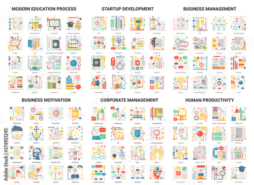 Fototapeta Complex concept flat abstract vector icons, modern design icon set educational and development management, corporate business education process and startup, motivation for human productivity obraz