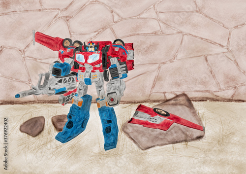 Fotografie, Obraz Watercolor Illustration of an abandoned toy transformer with broken wings standi