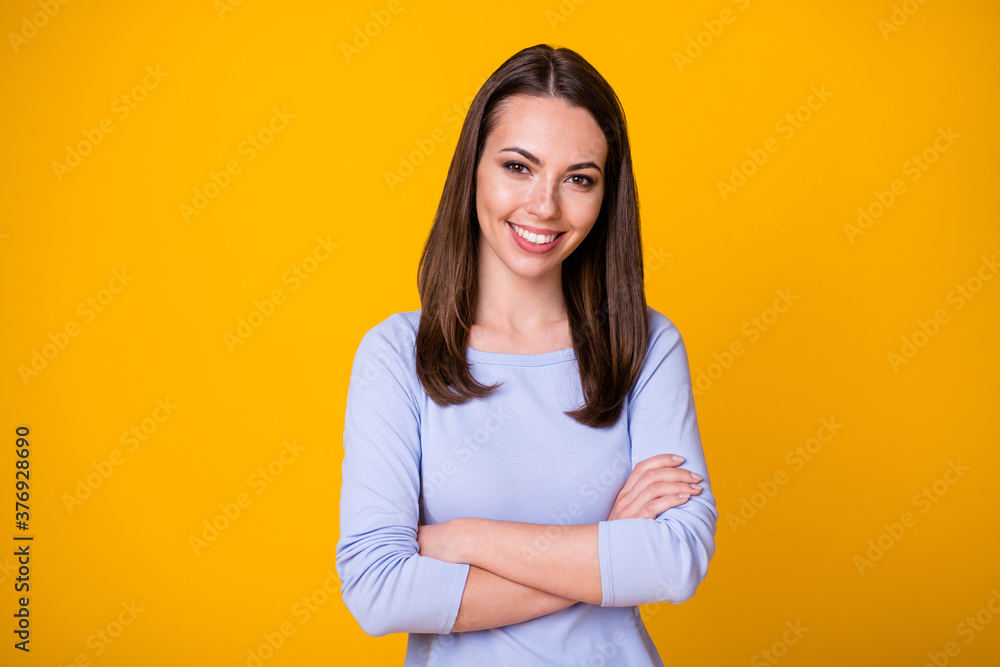 Fototapeta Photo of content lovely girl cross hands enjoy decide work decision wear good look shirt isolated over vivid color background