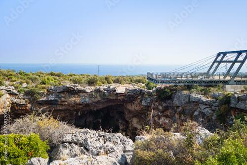 Fototapeta Viewpoint above karst sinkhole named Cehennem (Hell), Kizkalesi, Turkey