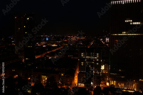 Cuadros en Lienzo beautiful view from a height, from the window to the night modern European city
