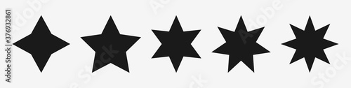 Tablou Canvas Black star vector icons set – Stars symbols with different pointed : four, five, six, seven, eight