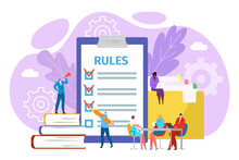 Rules In Office Concept, Vector Illustration. Legal Law Corporate Regulation. Businessman Compliance And Policy Management. Agreements And Principles Of Work, Rules In Office.