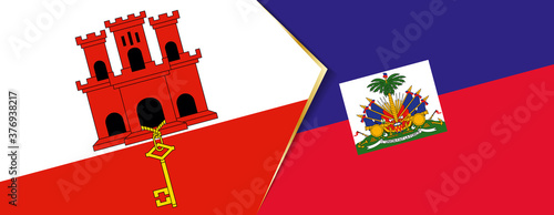 Fotografie, Tablou Gibraltar and Haiti flags, two vector flags.
