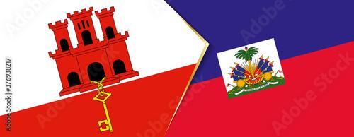Fényképezés Gibraltar and Haiti flags, two vector flags.